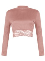 Relaxing Pink Long Sleeve Mock Neck Crop Top Lace Fashion Online