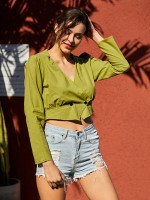 Fetching Green Long Sleeves Cropped Shirt V Neck For Women