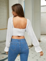 Cheeky White Poet Sleeves Backless Cropped Top Online Wholesale