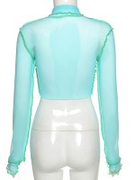 Blue Long Sleeve Crop Top Layered Cuffs Mesh Womens Apparel