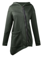 Stretchable Green Zipper Pocket Solid Color Hoodie Top Lady Fashion