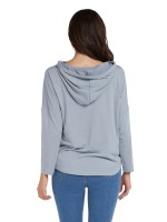 Sleek Gray Long Sleeve Drawstring Sweatshirt Womens Designer Clothing