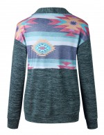 Green Zip Closure Long Sleeve Patchwork Sweatshirt Superior Comfort