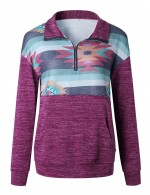 Purple Sweatshirt Zip At Front Long Sleeve Pocket Classic Clothing