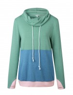 Light Green Full Sleeve Patchwork Drawstring Sweatshirt Superior Comfort