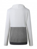 White Sweatshirt Patchwork Fingerwear Long Sleeve Women's Tops