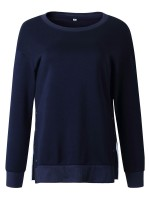 Functional Blue Sweatshirt Crew Neck Full Sleeve Breathable