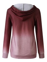 Fancinating Wine Red Buckle Gradient Hoodie Top Pocket Feminine Grace