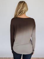 Stretchable Round Collar Long Sleeve Gradient Top Chic Trend