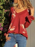Special Red Digital Flower Printing V-Neck Top Chic Online