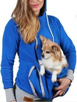 Alluring Blue Hoodie Top Solid Color Long Sleeve For Lounging