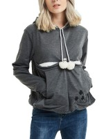 Splendor Dark Gray Drawstring Cat'S Paw Paint Hoodie Top Cheap Online Sale