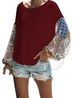 Professional Wine Red Pullover Bat Top Crew Neck High-Low Hem