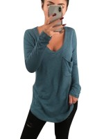 Splendid Dark Green Plain Full Sleeve T-Shirt V-Neck Women Outfit