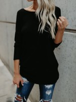 Simply Black Open Back Knot Long Seeve T-Shirt Casual Clothing