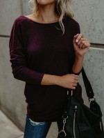 Homely Purple Full Sleeve Curved Hem T-Shirt Plain Classic Clothing