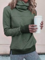 Dazzles Green Slit Hem Sweatshirt Long Sleeve Sexy Fashion