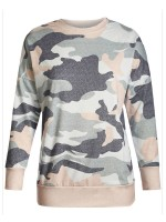 Fascinating Camouflage Print Round Collar Sweatshirt Comfortable