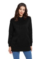 Refreshing Black Solid Color Sweatshirt Hooded Neck For Beauty