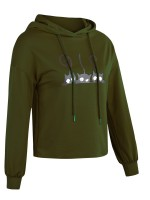 Sweety Green Hooded Neck Full Sleeve Sweatshirt Womens Apparel