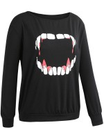 Lovely Black Round Collar Sweatshirt Long Sleeve Quick Drying