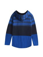 Dark Blue Drawstring Hoodie Stripe Print Patchwork Women's Essentials