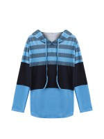Shop Light Blue Hooded Top Full Sleeve Patchwork Versatile Item