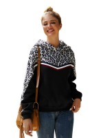 Maiden Black Leopard Print Hooded Neck Sweatshirt Home Clothes