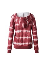 Desirable Red Lace-Up Sweatshirt Drawstring Pockets Home Clothes