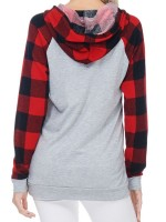Captivating Light Gray Plaid Paint Sweatshirt Hooded Collar Form Fit