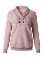 Ultra Contemporary Pink Double Rows Button Plush Sweatshirt Super Faddish