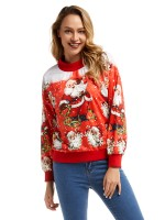 Splendor Red Sweatshirt Full Sleeve Christmas Print Sensual Curves