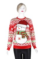 Desirable Xmas Snowmen Pattern Sweatshirt Versatile Item