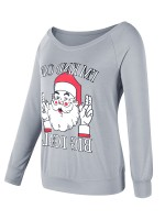 Stretch Gray Santa Claus Paint Crew Neck Sweatshirt For Sexy Women