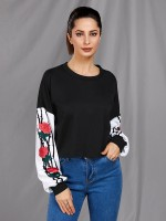 Amazing Long Sleeve Flower Print Sweatshirt Wholesale Online