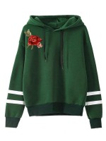 Perfectly Green Sweatshirt Drawstring Contrast Color Female Charm