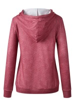 Dishy Red Patchwork Hooded Top Front Pocket For Hiking