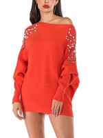 Unforgettable Orange Bat Sleeves Sweater Boat Neck With Pearl Women Clothes