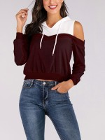 Attractive Wine Red Hooded Top Patchwork Cold Shoulder Soft-Touch