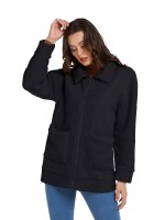 Impeccable Black Solid Color Pockets Zipper Coat Breathable