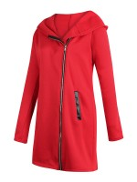 Charming Red Solid Color Jacket Long Sleeve For Shopping