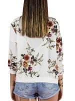 Brightly White Floral Print Jacket Long Sleeve Womens Trendy Clothes