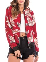 Fascinating Red Full Sleeve Crane Pattern Jacket Ultimate Comfort