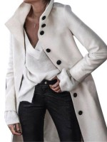 Noticeable White Overcoat Long Sleeve Button Front Ultimate Comfort