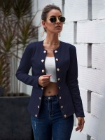 Sophisticated Purplish Blue Plain Long Sleeve Jackets Front Button Fashion
