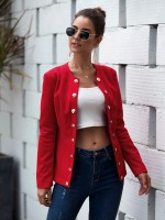 Fancinating Red Suit Jacket Button Front Full Sleeves Feminine Fashion Style