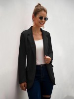Refreshing Black Lapel Neck Long Sleeves Suit Jacket Fabulous Fit