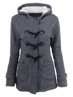 Fiercely Dark Gray Long Sleeve Hooded Neck Button Coat Latest Fashion