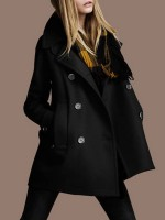 Cool Black Large Size Coat Button Turndown Neck Female Fashion