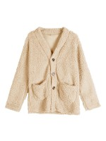 Entrancing Khaki Solid Color Coat Queen Size Leisure Time